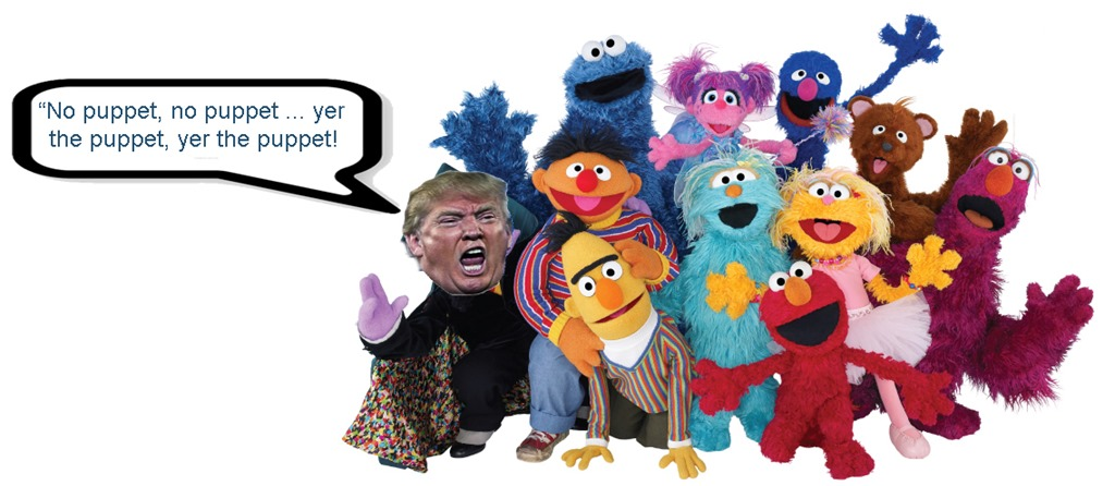 trump yer the puppet by hip is everything
