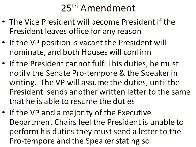 25th Amendment The Vice President will become President if the President leaves office for any reason